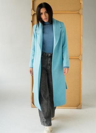 Красиве елегантне ефектне пальто з кишенями і поясом турция