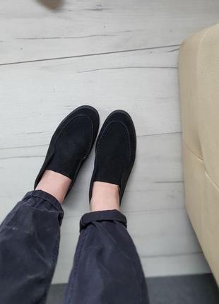 Лоферы балетки туфли чёрные замш