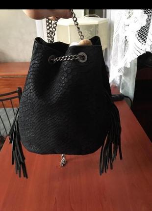 Модная замшевая сумочка с бахромой на цепочке