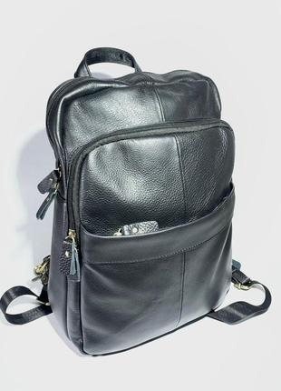 Универсальный женский кожаный рюкзак сумка,ручная кладь,городской рюкзак черный