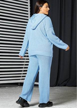 Вязаный костюм батал голубого цвета, кофта и штаны ева2 фото