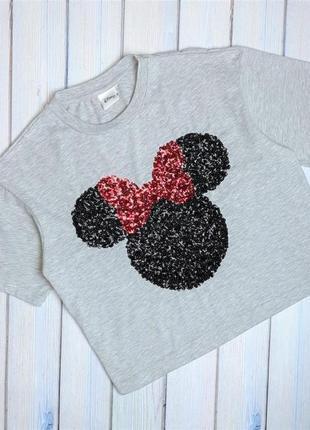 💥1+1=3 красивая серая женская футболка с микки-маусом в пайетках disney, размер 48 - 50