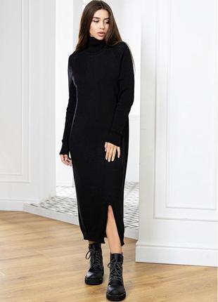 Вязаное теплое платье оверсайз с высоким горлом черное, софи