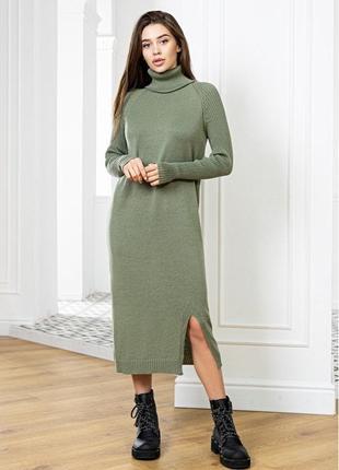 Вязаное теплое платье оверсайз с высоким горлом оливковое, софи
