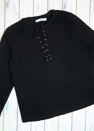 💥1+1=3 стильный черный женский свитер гольфик со шнуровкой cassiopeia, размер 52 - 54