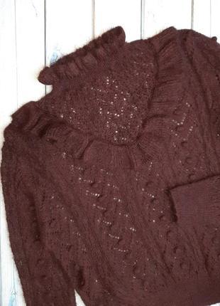 💥1+1=3 ажурный модный женский свитер бордо zara, размер 46 - 48