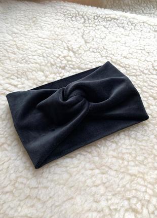 Теплая широкая плюшевая повязка черная, чалма на голову с переплетом