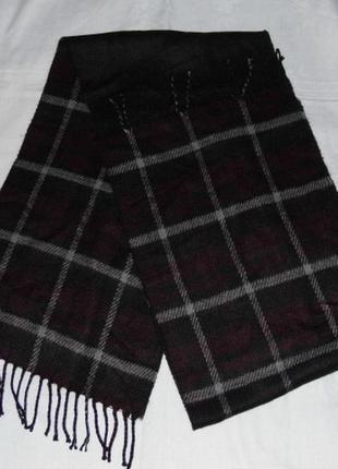 Теплый шарф в клеточку черно-бордовый m&co 170х33 - этикетка