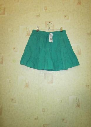 Бирюзовая зеленая юбка f&f расклешенная