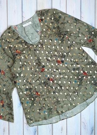 💥1+1=3 красивая блестящая блуза хаки цветочный принт continue, размер 46 - 48