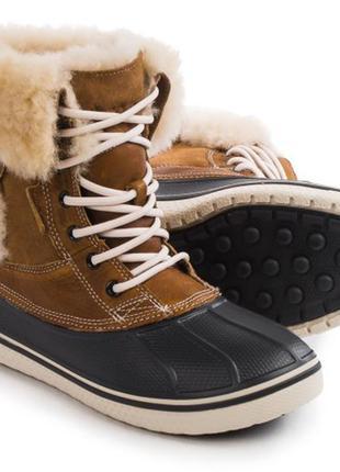 Супер теплые зимние сапоги crocs luxe duck boot размер 5us наш 35-36