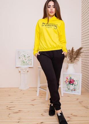 Яркий желтый худи,кофта оверсайз укороченный