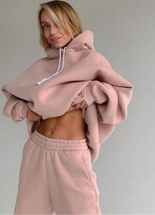 Зимний спортивный костюм на флисе трехнитка худи джоггеры все размеры