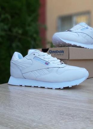 Кожаные кроссовки reebok classic белые, кожаные. весенние, женские