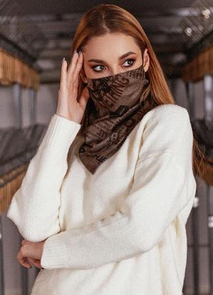 Коричневый двухсторонний платок-маска на резинках с принтом (1665 .4475 svtt)