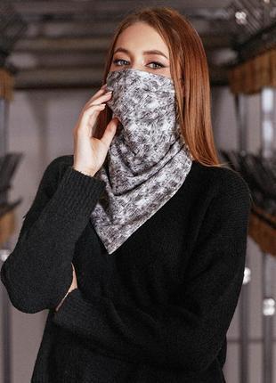 Двухсторонний серый платок-маска на резинках с принтом (1665 .4476 svtt)