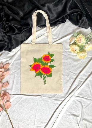 Эко сумка торба с цветами рисунком