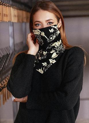 Двухсторонняя черно-бежевая маска на резинках с принтом (1665 .4478 svtt)