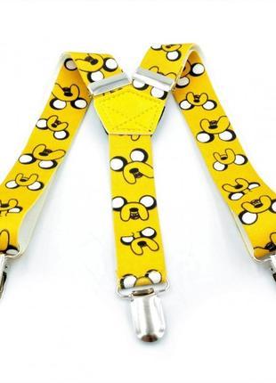 Подтяжки детские жёлтые с рисунком weatro