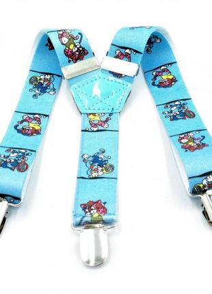 Подтяжки детские голубые с рисунком weatro