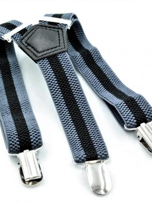 Подтяжки детские серые с чёрным weatro det-pd-011