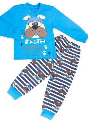 Пижама комбинированный интерлок с рисунком голубого цвета