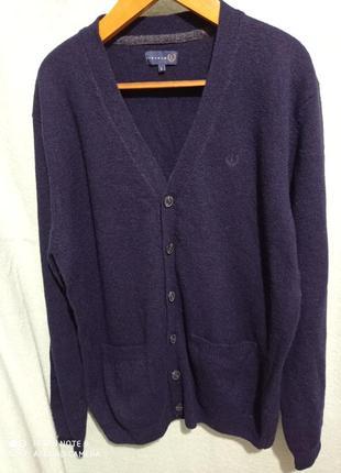 Новый шерстяной добротный фирменный темно-синий кардиган с двумя карманами l lincoln