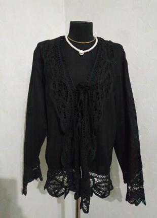 Alba moda/роскошная льняная блуза накидка кардиган с кружевом