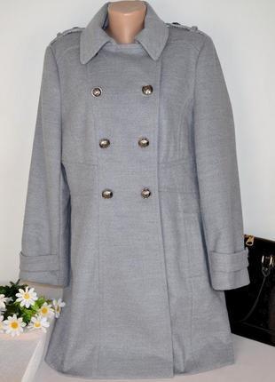 Брендовое серое демисезонное пальто с карманами wallis вискоза этикетка