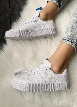 Женские кроссовки adidas samba white leather