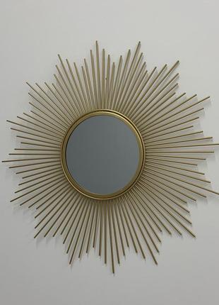 Зеркало солнышко золотистое настенное