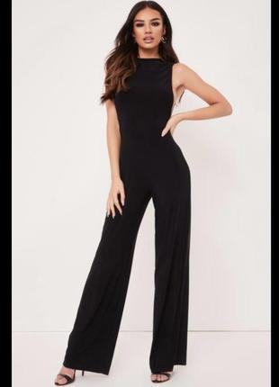 Чёрный комбинезон без рукавов легкий штаны сексуальный