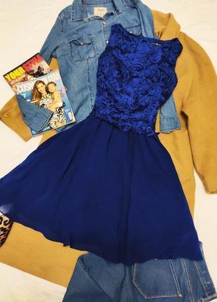Little mistress платье синее кружевное шифоновое на подкладке классическое