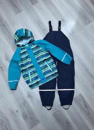 Комплект дождевик куртка и полукомбинезон оба без подкладки lupilu 122/128 см зелено/синий