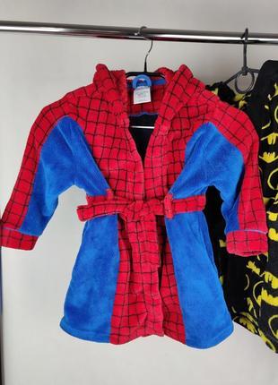 Брендовый красивый плюшевый халат с капюшоном disney spiderman человек паук marvel