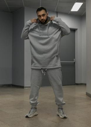 Костюм чоловічий теплий на флісі оверсайз худі і штани