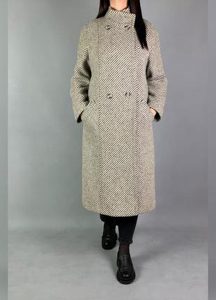 Длинное двубортное шерстяное пальто c&a