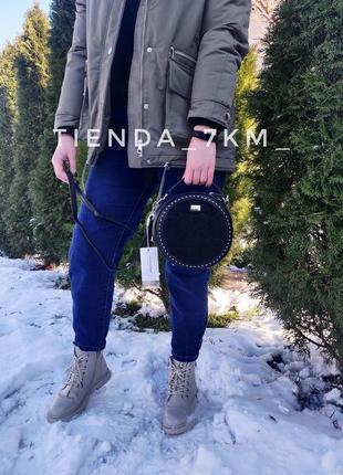 Клатч david jones 6153-1t черный / круглая сумка с мехом