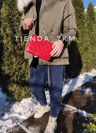 Клатч david jones 5964-1 красный / сумка через плечо на цепочке