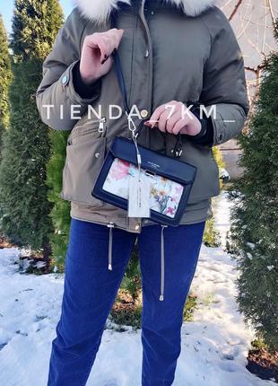 Клатч david jones cm5110 черный с цветочным принтом на длинном ремешке сумка