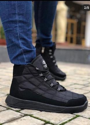 Крутые мужские черные термоботинки кроссовки сапоги на меху зима размер 46