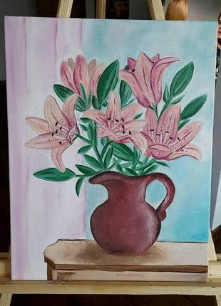 Картина маслом, натюрморт лилии