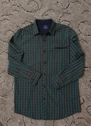 Хлопковая  мужская рубашка, сорочка в клетку