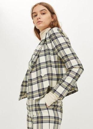 Пиджак двубортный укороченный topshop, клетка, размер s