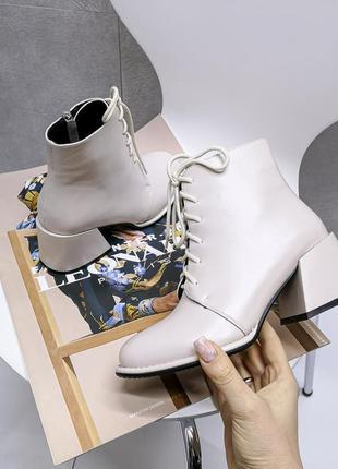 Бежевые ботинки из искусственной матовой кожи 9902
