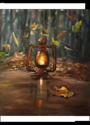 Картина маслом винтажный фонарик