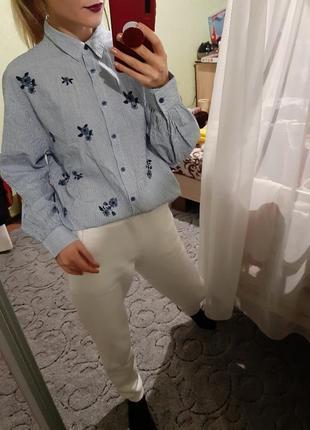 Шикарная хлопковая рубашка,сорочка оверсайз  с вышивкой