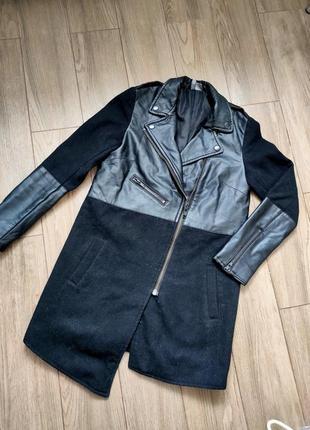 Пальто-косуха с кожанными вставками