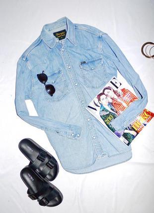 Удлиненная рубашка из денима wrangler ( джинсовая рубашка оверсайз , свободного кроя )