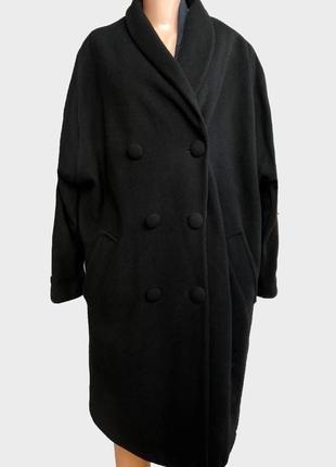 На вторую вещь скидка -50% черное натуральное пальто кашемир, шерсть, двубортное оверсайз